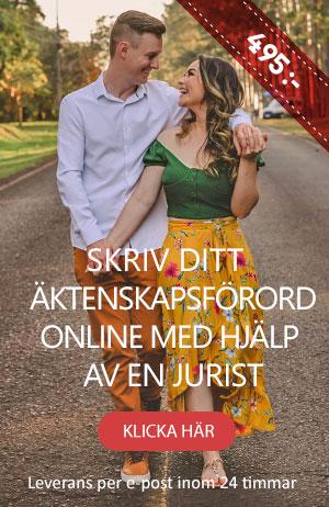 Blivande makar som ska skriva ett äktenskapsförord online