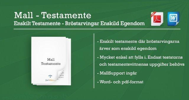 Mall Enskilt testamente - Bröstarvingar enskild egendom