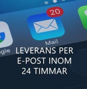 Leverans per e-post inom 24 timmar